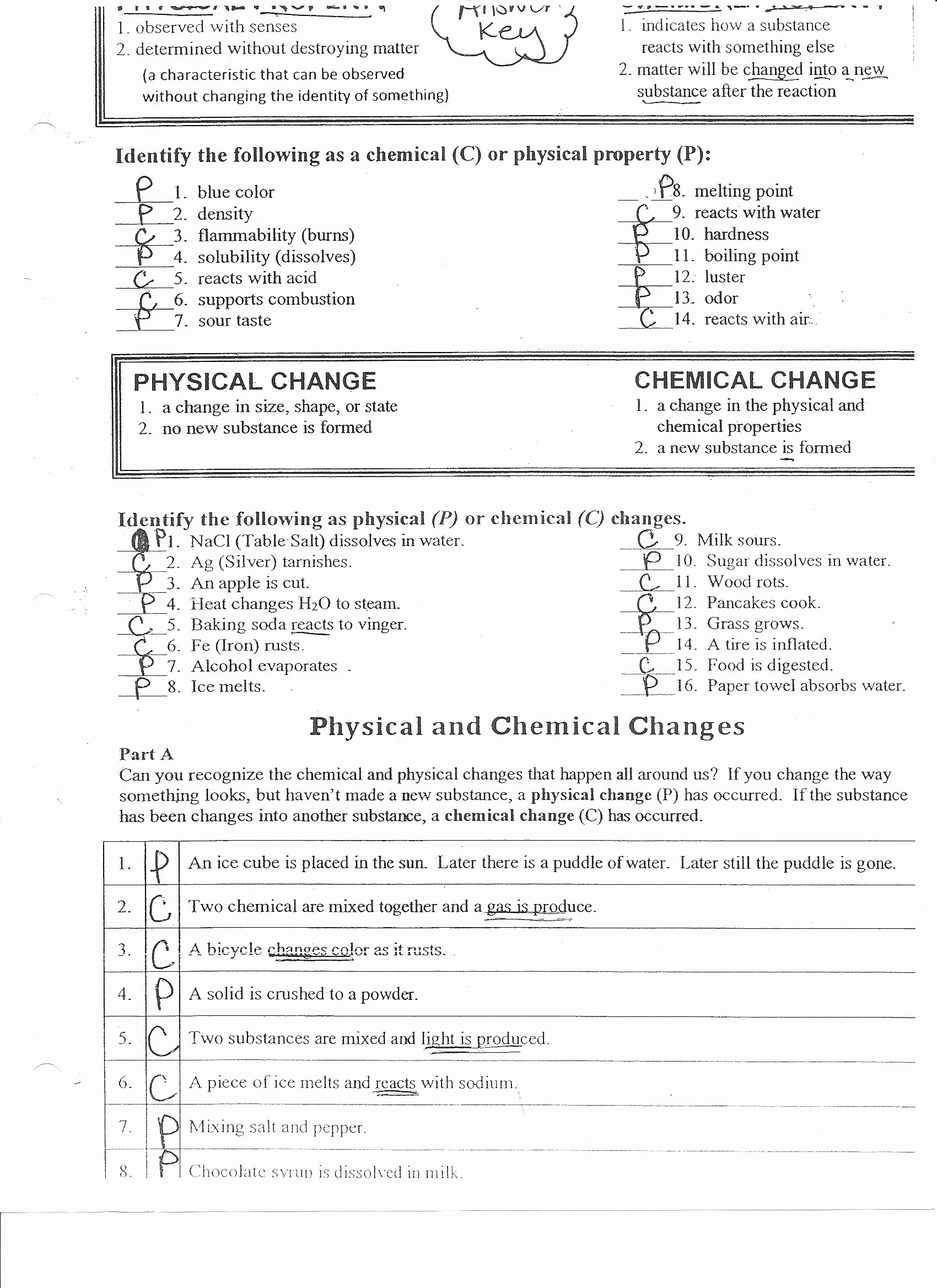 Physical and Chemical Properties Worksheet Awesome Chemistry Worksheets for Grade 9