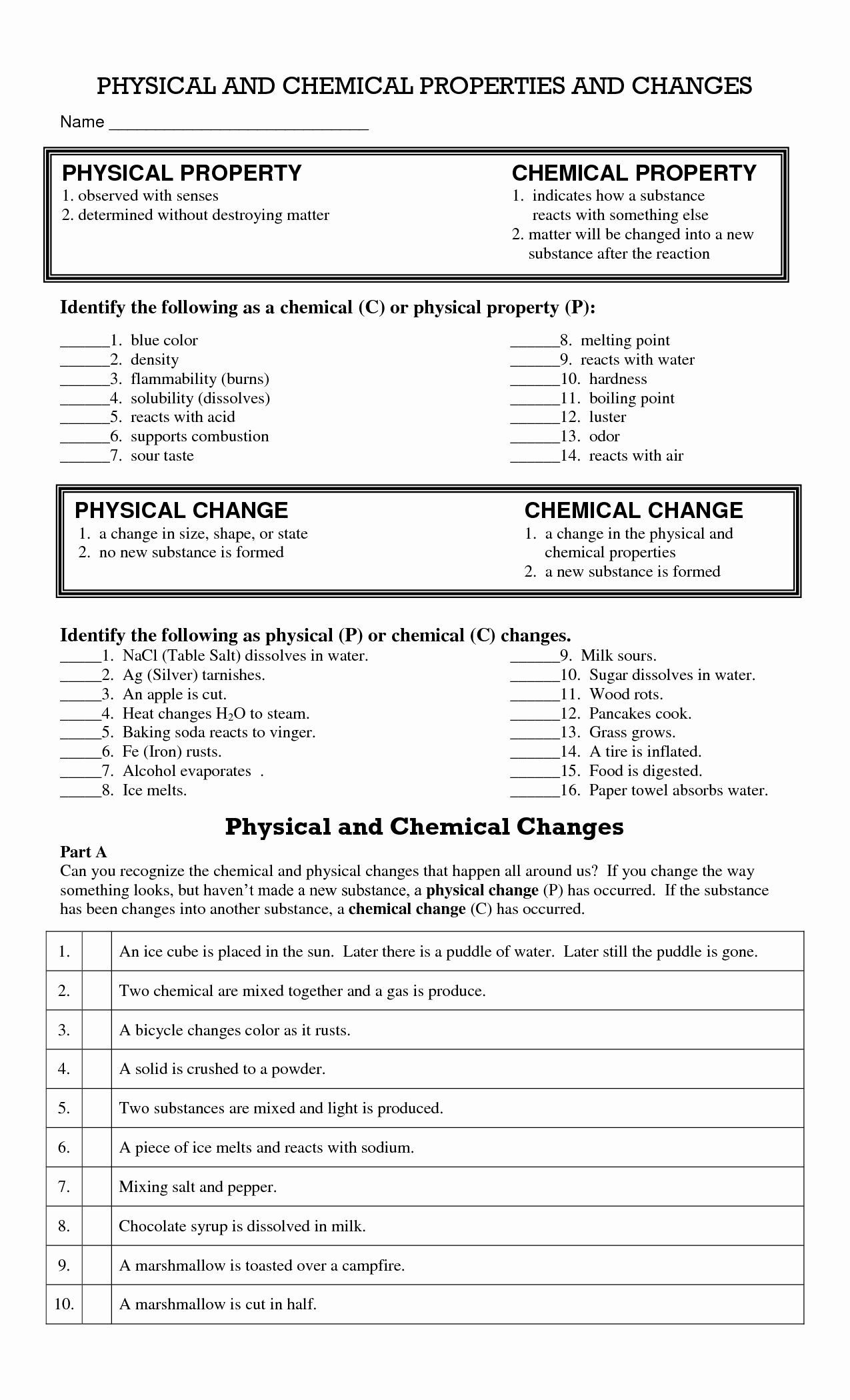 Physical and Chemical Properties Worksheet Elegant 14 Best Of Physical Changes Matter Worksheets