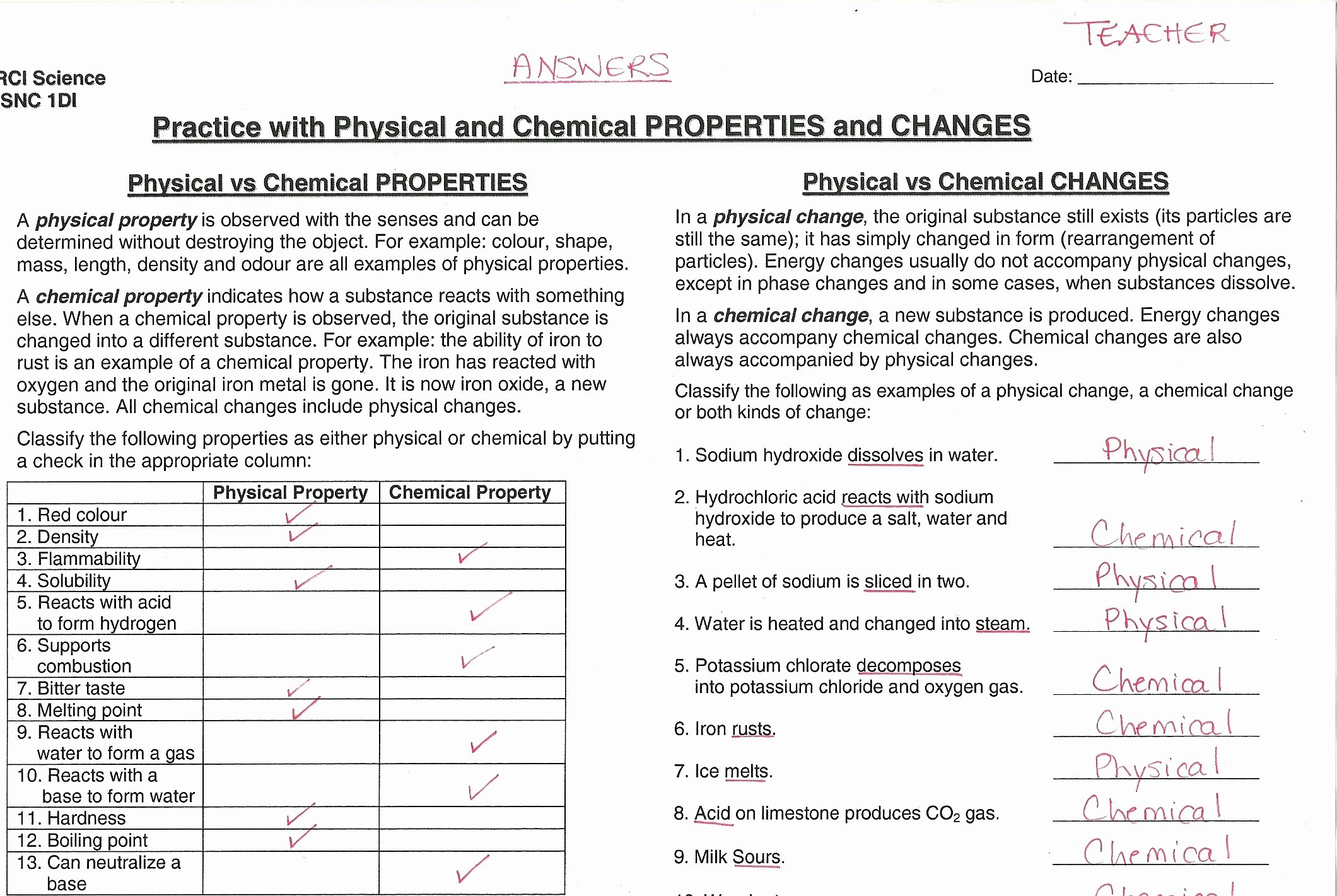 Physical and Chemical Properties Worksheet Lovely Unit 3 Chemistry Miss Bodnar S Snc 1di Science Website