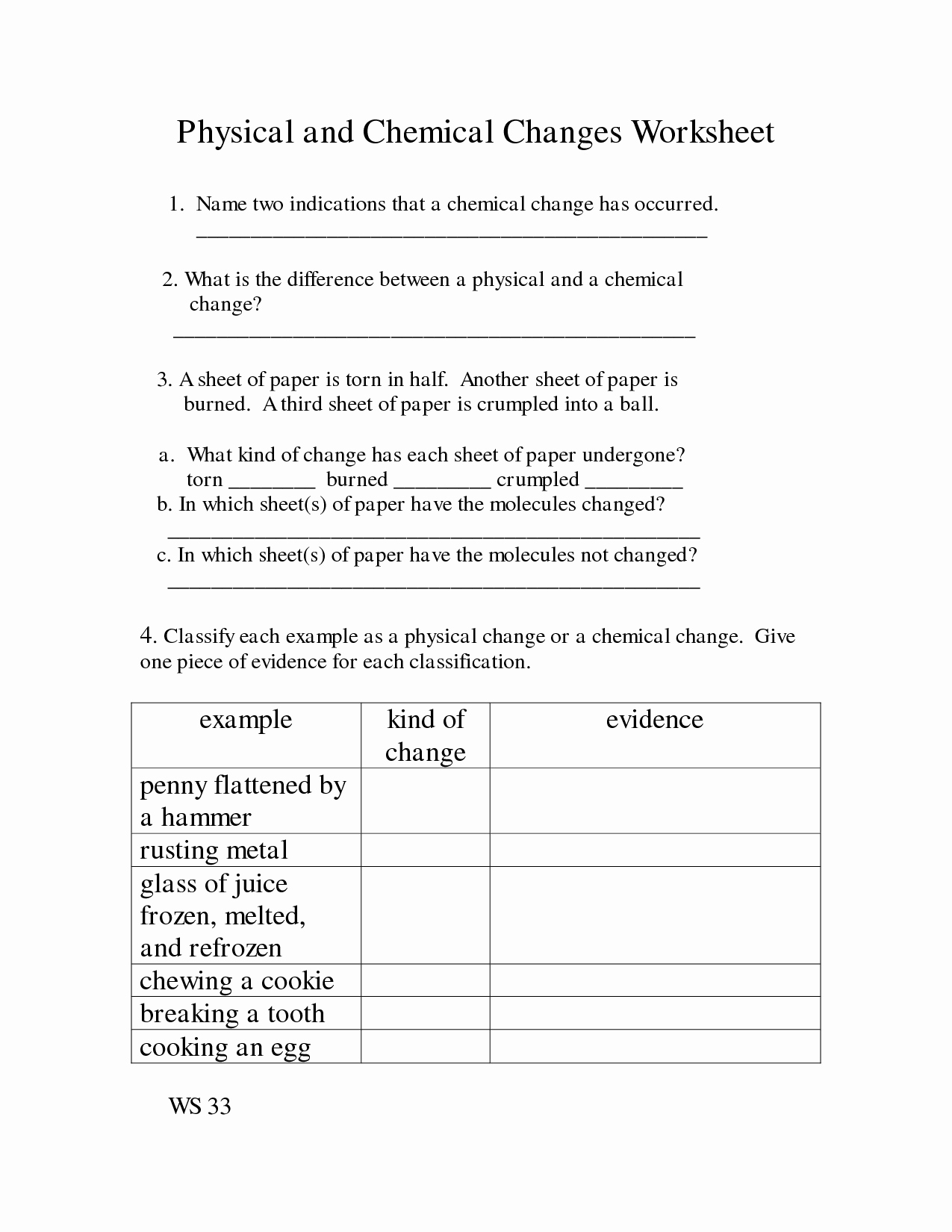 Physical and Chemical Properties Worksheet Luxury 14 Best Of Elementary Chemical Change Worksheets