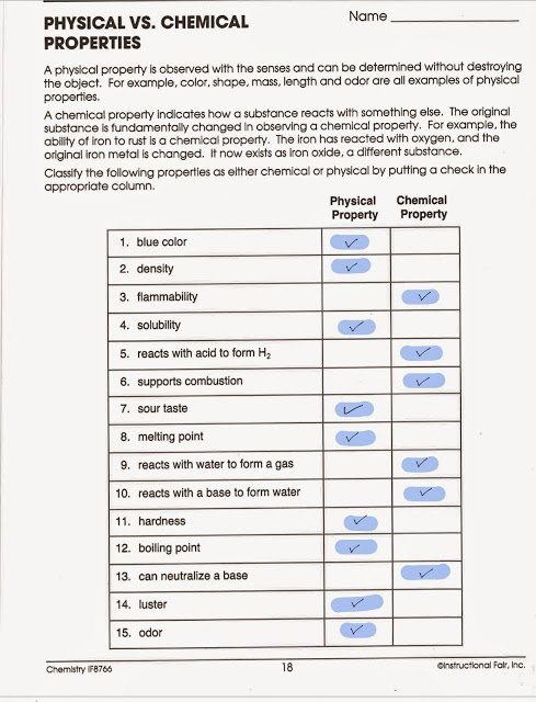 Physical and Chemical Properties Worksheet Luxury tom Schoderbek Chemistry Physical Chemical Properties and