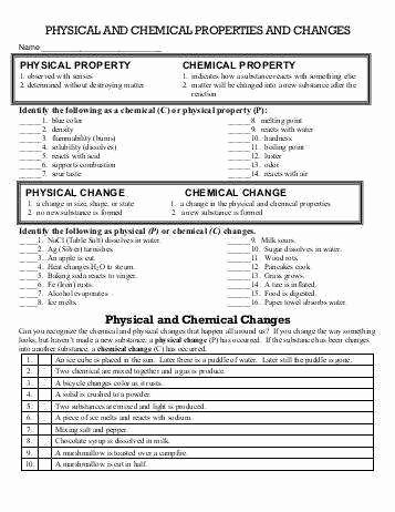 Physical and Chemical Properties Worksheet Luxury Worksheet Chemical Vs Physical Properties and Changes