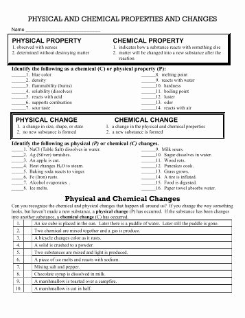 Physical and Chemical Properties Worksheet New Physical and Chemical Properties and Changes Worksheet 2