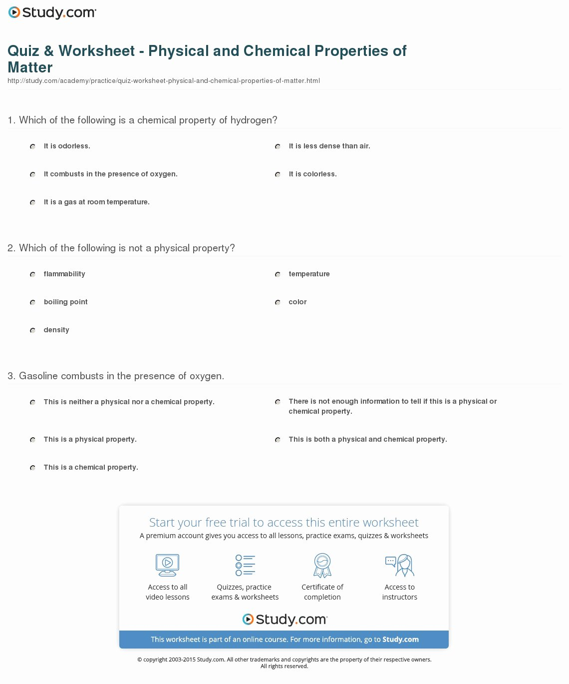 Physical Properties Of Matter Worksheet Lovely Quiz & Worksheet Physical and Chemical Properties Of