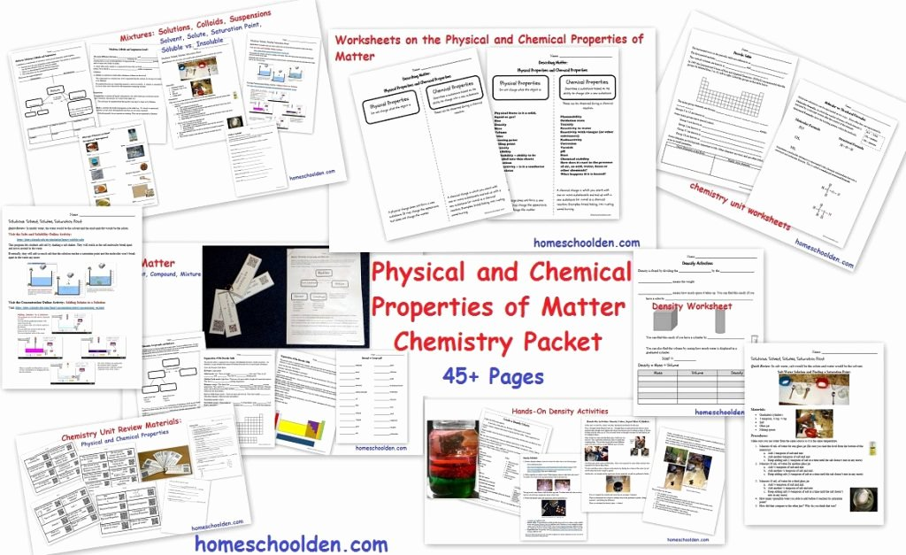 Physical Properties Of Matter Worksheet New Changes In States Matter Worksheets