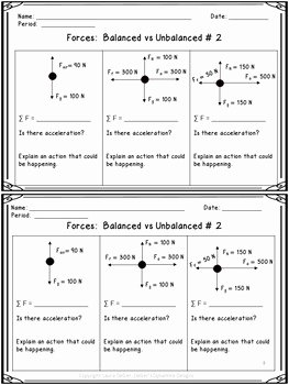 Physical Science Newton's Laws Worksheet Elegant Physical Science Unit 2 force Newton S Laws Warm Ups
