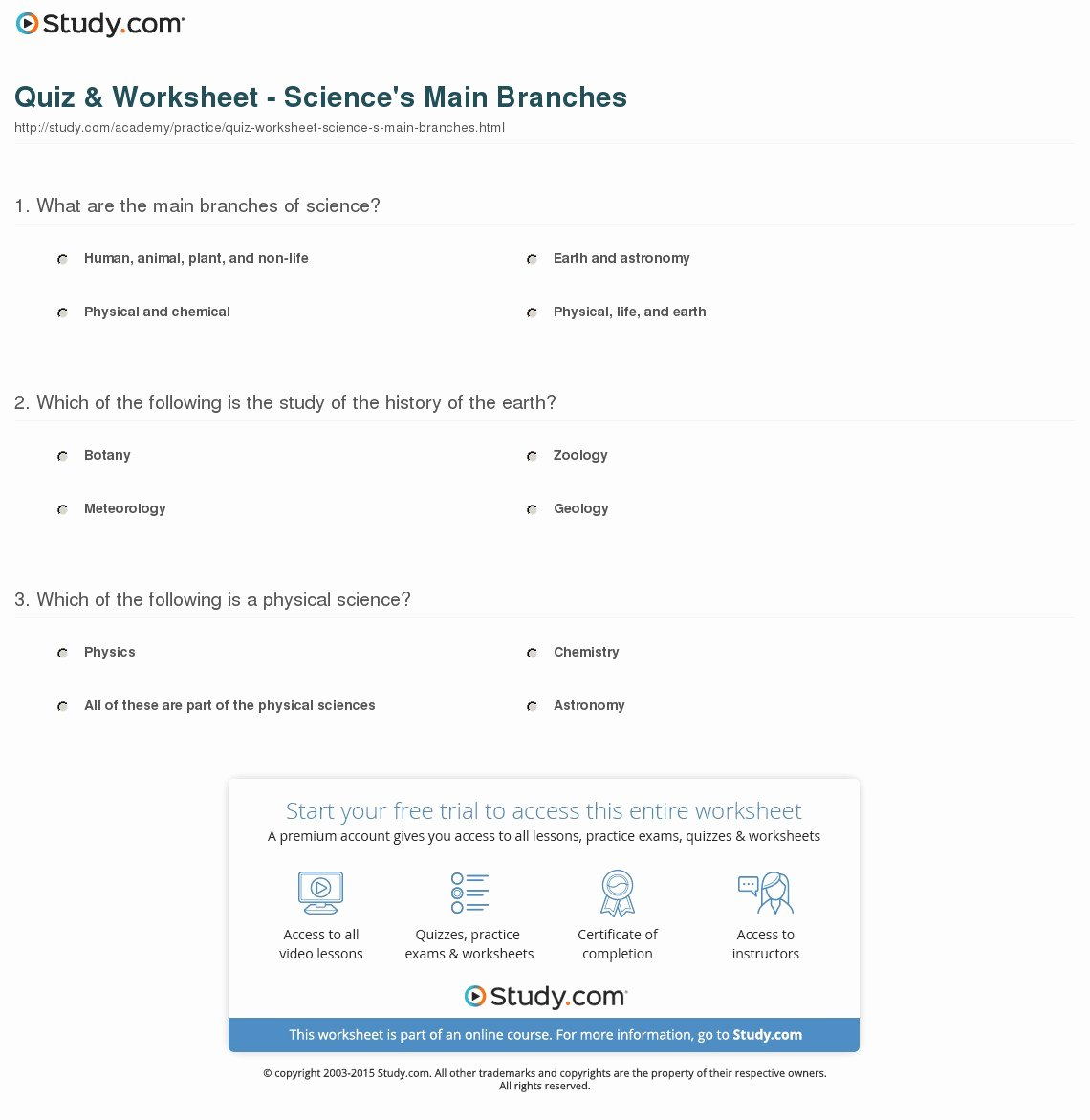 Physical Science Newton's Laws Worksheet Fresh Quiz & Worksheet Science S Main Branches