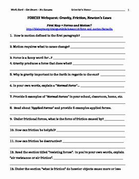 Physical Science Newton's Laws Worksheet Inspirational Newton S Nd Law Worksheet and Key Physical Science Newton