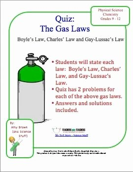 Physical Science Newton's Laws Worksheet Lovely Gas Law Quiz Boyle S Charles S Gay Lussac S Laws