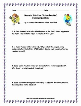 Physical Science Newton's Laws Worksheet Lovely Newton S Laws Of Motion Third Law Challenge Questions