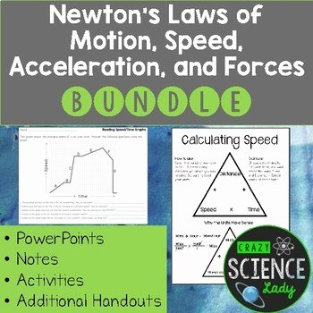 Physical Science Newton's Laws Worksheet New force and Motion Physical Science Bundle forces Speed