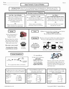 Physical Science Newton's Laws Worksheet Unique isaac Newton S 3 Laws Of Motion 9th 12th Grade Worksheet