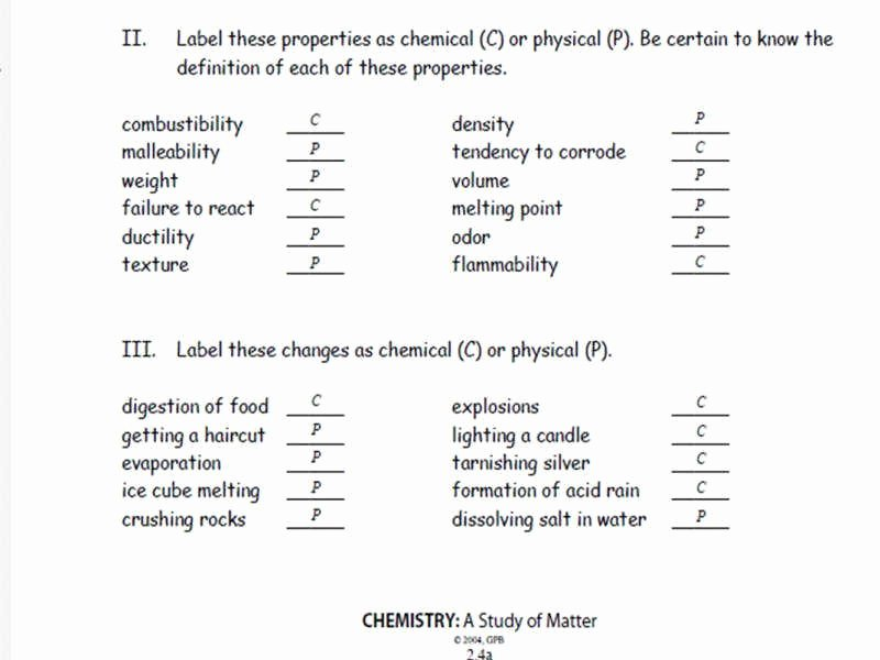 Physical Vs Chemical Changes Worksheet Best Of Physical Vs Chemical Change Worksheet