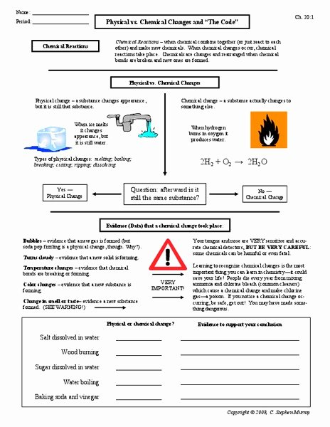 Physical Vs Chemical Changes Worksheet Elegant Physical Vs Chemical Changes Worksheet for 9th 12th