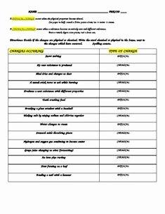 Physical Vs Chemical Changes Worksheet Fresh 1000 Images About Physical & Chemical Changes On