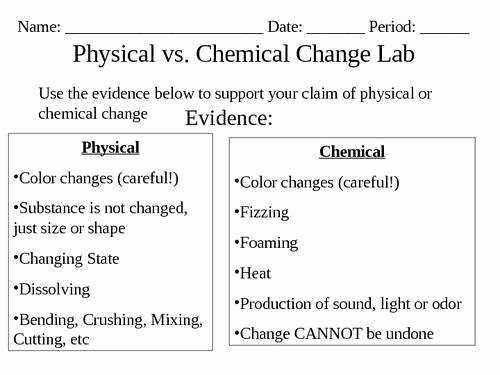 Physical Vs Chemical Changes Worksheet Inspirational Physical and Chemical Changes Worksheet