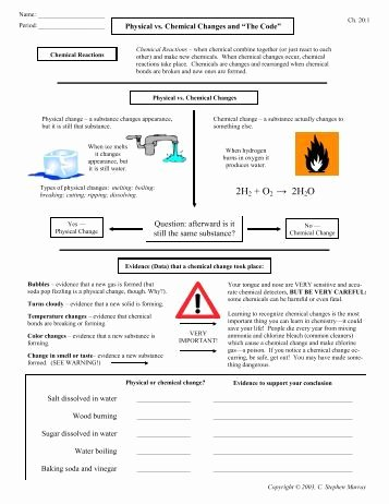 Physical Vs Chemical Changes Worksheet Unique Physical and Chemical Properties and Changes Worksheet 2
