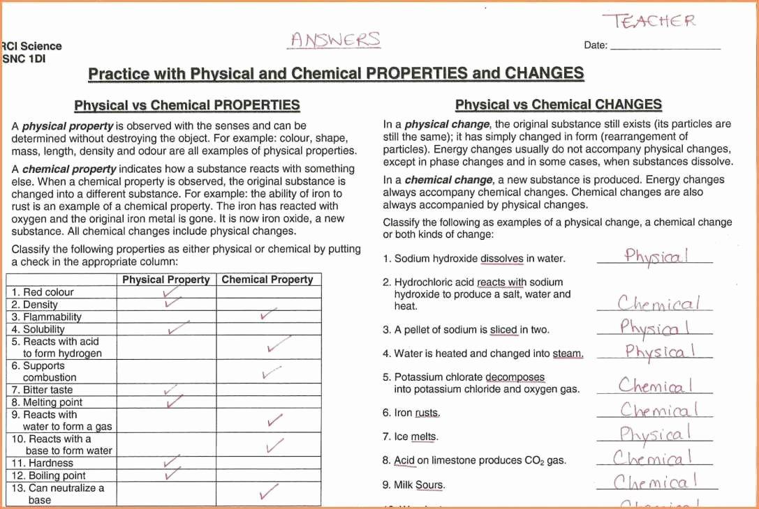 Physical Vs Chemical Properties Worksheet Unique Lovely Worksheet 2 Physical Chemical Properties Changes