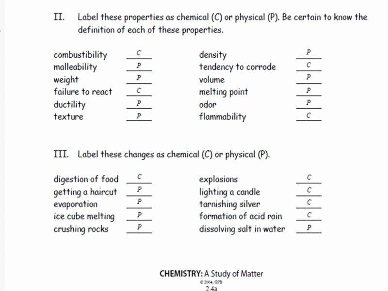 Physical Vs Chemical Properties Worksheet Unique Physical Vs Chemical Properties Worksheet