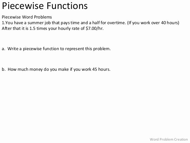 Piecewise Functions Word Problems Worksheet Best Of Piecewise Functions