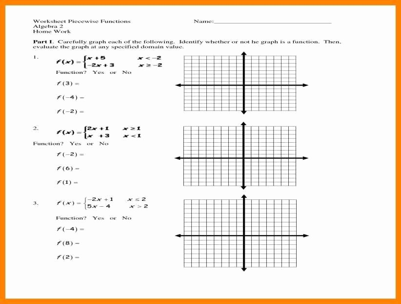 Piecewise Functions Worksheet with Answers Awesome Evaluating Functions Worksheet Algebra 2 Answers