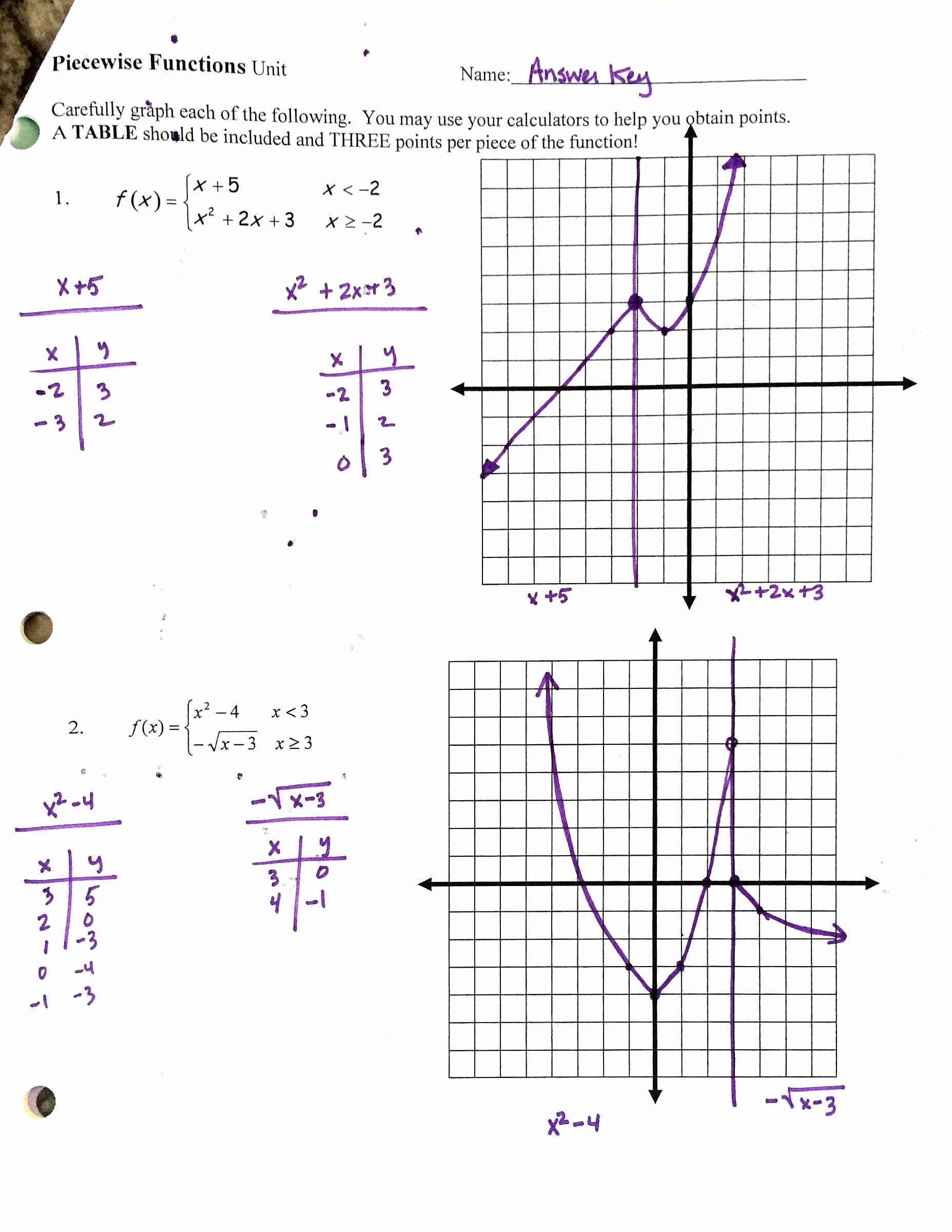 Piecewise Functions Worksheet with Answers Elegant Worksheet 1 8 Homework Piecewise Functions Key