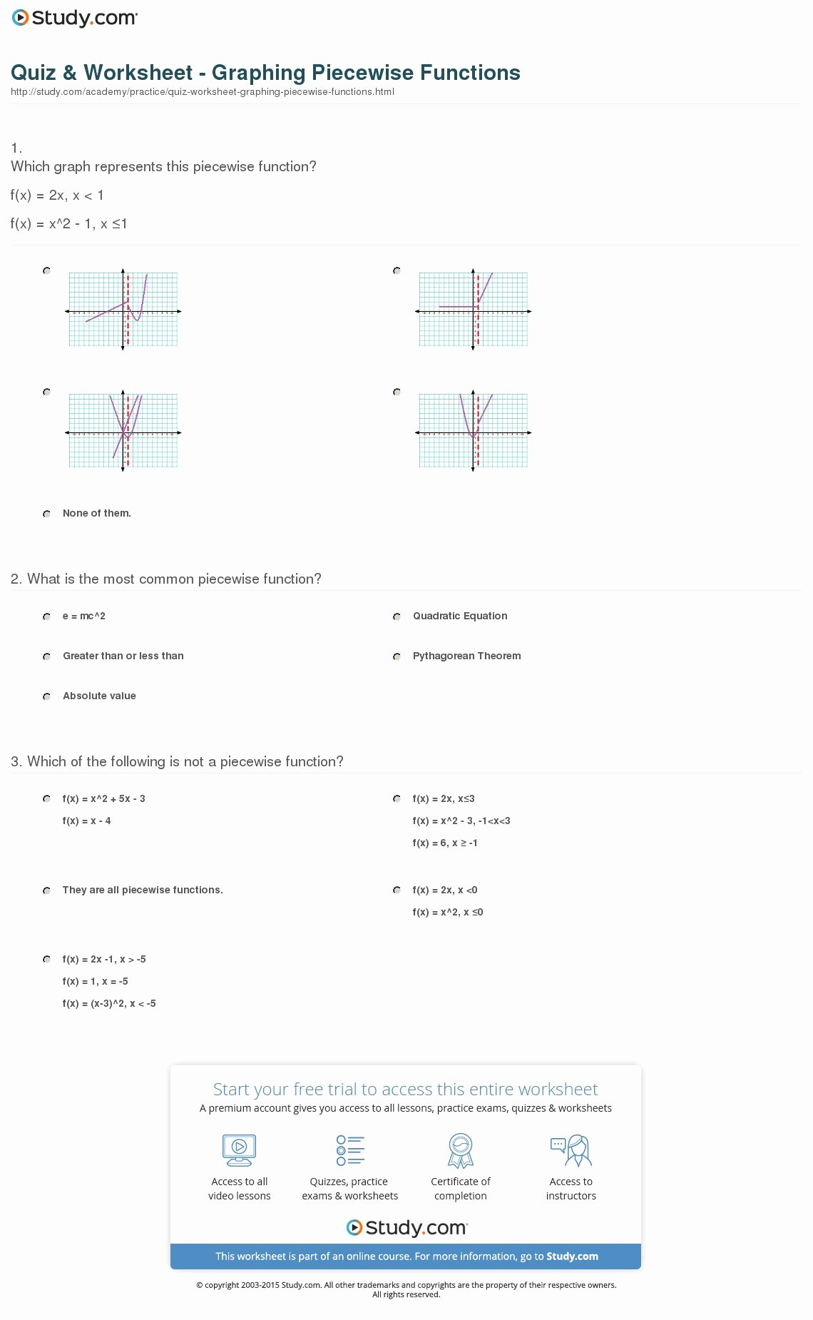 Piecewise Functions Worksheet with Answers Fresh Quiz & Worksheet Graphing Piecewise Functions