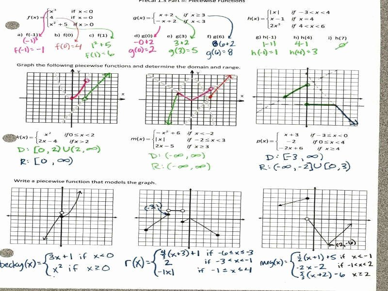 Piecewise Functions Worksheet with Answers Luxury Piecewise Function Worksheet