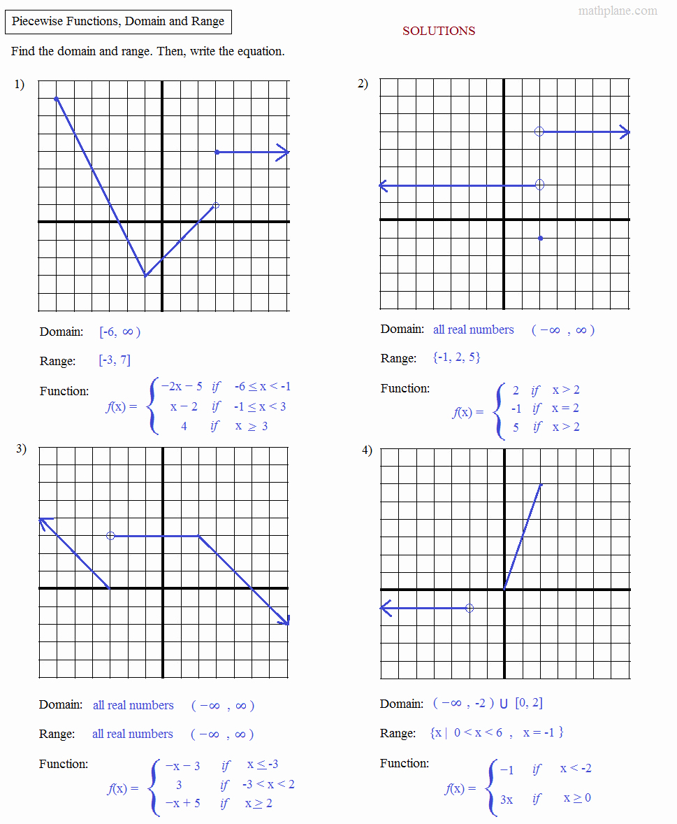 Piecewise Functions Worksheet with Answers Unique Math Plane Algebra Review 2