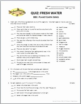 Planet Earth Freshwater Worksheet Answers Awesome Planet Earth Fresh Water Video Questions & Quiz Bo