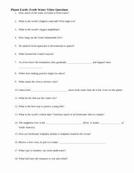 Planet Earth Freshwater Worksheet Answers Best Of Planet Earth Video Questions the World Biomes by Amy