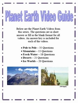 Planet Earth Freshwater Worksheet Answers Fresh Planet Earth Video Questions Part 1 by Amy Kirkwood
