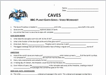 Planet Earth Freshwater Worksheet Answers Inspirational Planet Earth Caves Video Questions Worksheet Editable