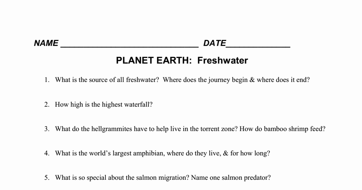 Planet Earth Freshwater Worksheet Answers New Dvd Planet Earth Freshwater Worksheet Pdf Google Drive