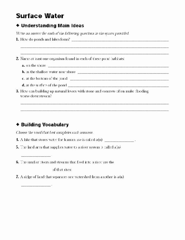 Planet Earth Freshwater Worksheet Lovely Surface Water Lesson Plans & Worksheets