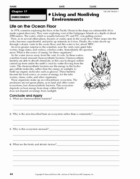Planet Earth Ocean Deep Worksheet Fresh Life On the Ocean Floor Worksheet for 7th 10th Grade