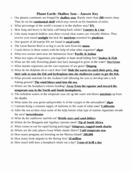 Planet Earth Ocean Deep Worksheet Inspirational Planet Earth Shallow Seas & Ocean Deep Video Questions by