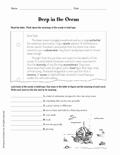Planet Earth Ocean Deep Worksheet Unique Deep In the Ocean Worksheet for 5th 6th Grade
