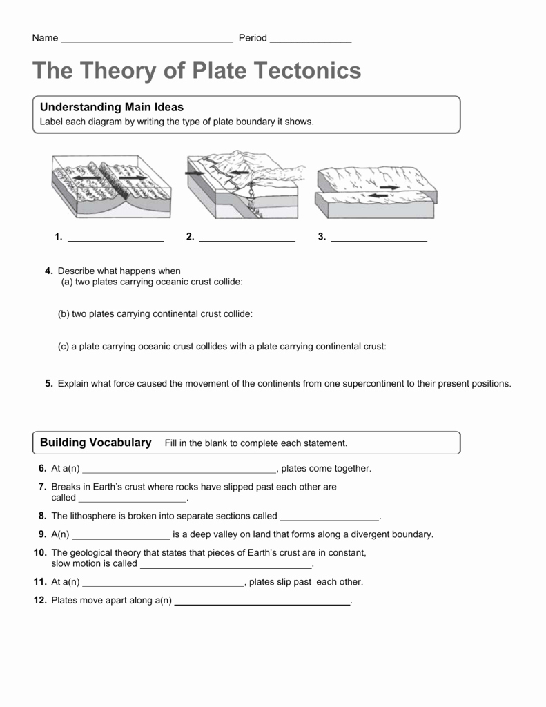 Plate Boundary Worksheet Answers Awesome theory Of Plate Tectonics Worksheet