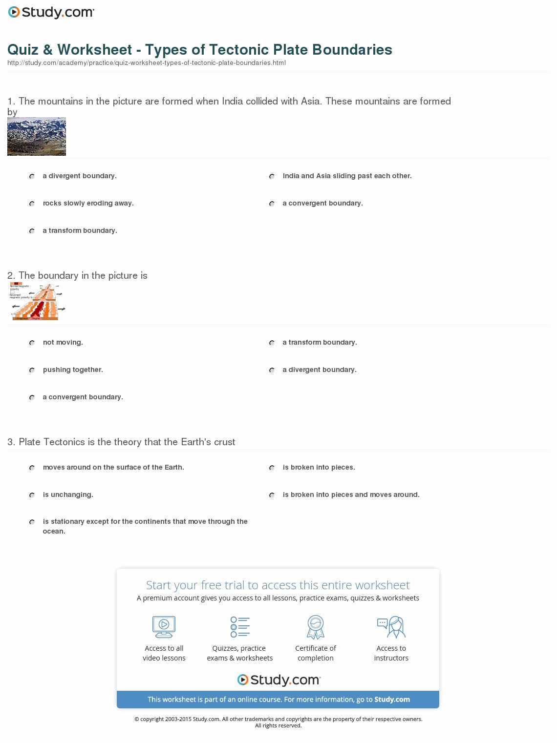 Plate Boundary Worksheet Answers Inspirational Quiz & Worksheet Types Of Tectonic Plate Boundaries