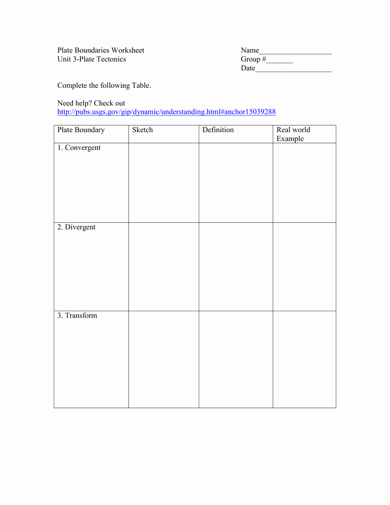 Plate Boundary Worksheet Answers Unique Plate Boundary Worksheet