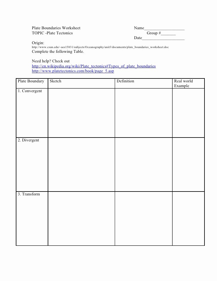 Plate Tectonic Worksheet Answers Awesome Plate Boundaries Worksheet