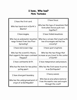 Plate Tectonic Worksheet Answers Best Of I Have who Has Plate Tectonics by Iheartscience