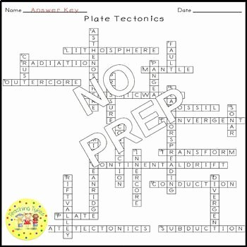 Plate Tectonic Worksheet Answers Best Of Plate Tectonics Crossword Puzzle by Teaching Tykes