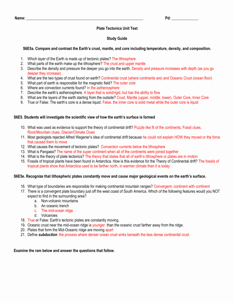 Plate Tectonic Worksheet Answers Elegant Name Pd Plate Tectonics Unit Test Study Guide S6e5a Pare