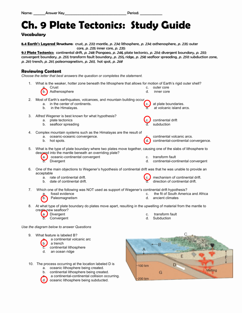 Plate Tectonic Worksheet Answers Inspirational Ch 9 Study Guide Answer Key