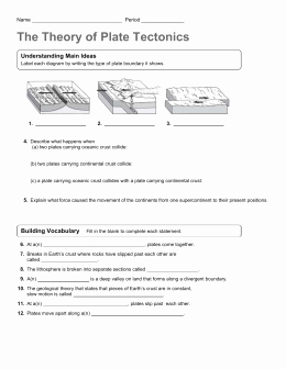 Plate Tectonic Worksheet Answers Lovely Plate Tectonics Lab Answer Key