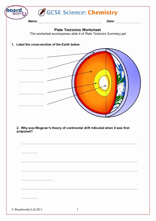 Plate Tectonic Worksheet Answers Luxury Plate Tectonics Worksheet