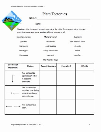 Plate Tectonic Worksheet Answers New Here S A Lesson Plan and Student Page On Plate Tectonics