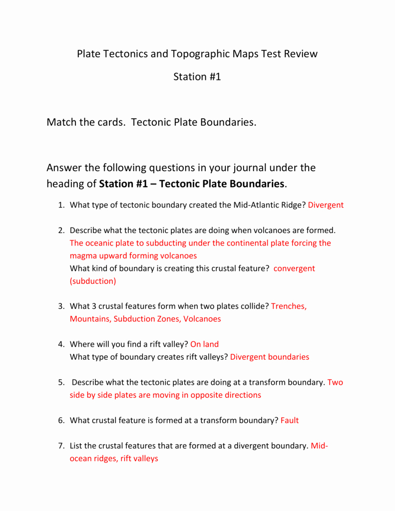 Plate Tectonic Worksheet Answers Unique Plate Tectonics and topographic Maps Test Review